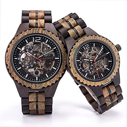 ZFAYFMA Reloj de Hombre clásico de Lujo Retro, 2 Piezas de Reloj de Madera de Madera mecánico automático Moda, tecnología y Naturaleza, Navidad y Cumple Dark Brown