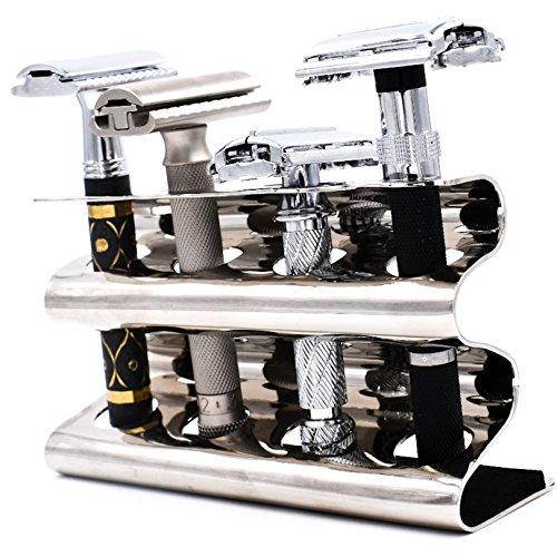Parker Safety Razor Parker seguridad de dos filos Razor soporte - tiene cuatro maquinillas de afeitar - grande para Parker, Merkur Cromo