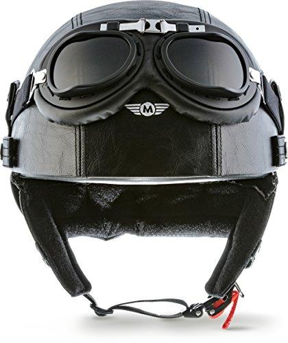 "Moto Helmets® D22-Set ""Leather Black"" · Brain-Cap · Halbschale Jet-Helm Motorrad-Helm Roller-Helm Scooter-Helm Bobber Mofa-Helm Chopper Retro Cruiser Vintage Pilot Biker Helmet Brille · L (59-60cm)"