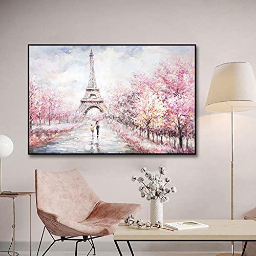 Muur Art Canvas Schilderijen Parijs Stad Landschap Eiffeltoren Posters Print Nordic Abstracte Fotos Home Decor-70x100cm Frameloos