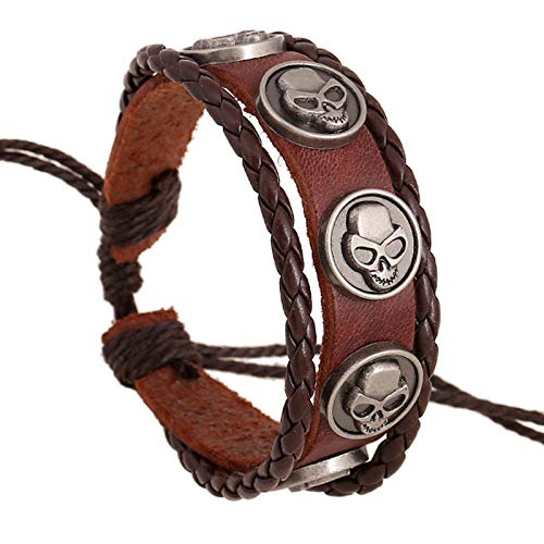 DDSCB Pulsera Hombre Cuero,Mens Leather Bracelet,Vintage Viking Round Skull Brown Leather Bracelets with Adjustable Punk Multilayer Bangle Cuff Wrap Wristband For Women Husband Teens