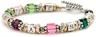 Lily Brooke Personalized Family Birth Month & Initials Mother Grandmother Bracelet - Sterling Silver & Gold-Filled Beads