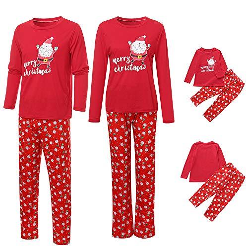 Riou Weihnachten Baby Kleidung Set Kinder Pullover Pyjama Outfits Set Familie Kinder Baby Boy Girl T Shirt Tops Hosen Familie Pyjamas Nachtwäsche Weihnachten Outfits (M, Mom)