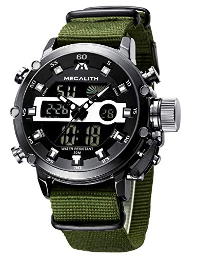 Orologio Uomo Orologio da Polso Militare Digitale Analogico Impermeabile Sportivo Cronografo Nero Orologio per Uomo Elegante Acciaio Inox Multifunzione Luminosi Moda Vestito con Fascia in Nylon Verde
