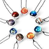 NDJEWELRY Solar System Necklace Nebula Galaxy Planet Pendant Double Side Glass Crystal Ball Universe Necklace Handmade Jewelry Set 9 Pack