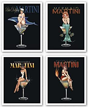 Martini Set by Ralph Burch Pin-Up Girls Mermaid Dolphin 8 x10  Art Print Poster