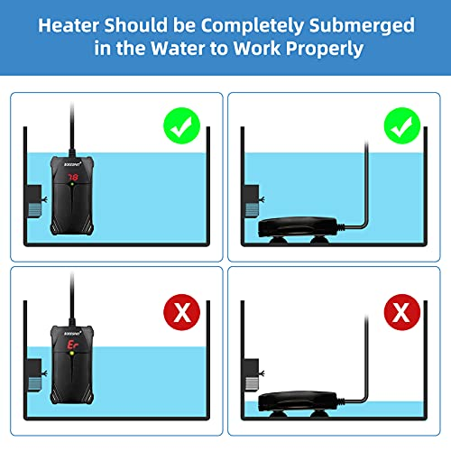 BOEESPAT Small Aquarium Heater 50W Fish Tank Heater for 5/10 Gallon Betta Fish with LED Temperature Controller and Smart Thermostat