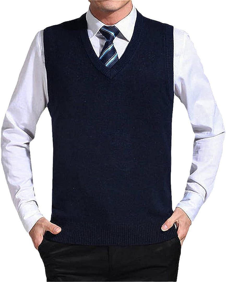 EGFIOKMJHT Solid Color Sweater Vest Men Cashmere Sweaters Wool Pullover Men V-Neck Sleeveless Jersey Vest