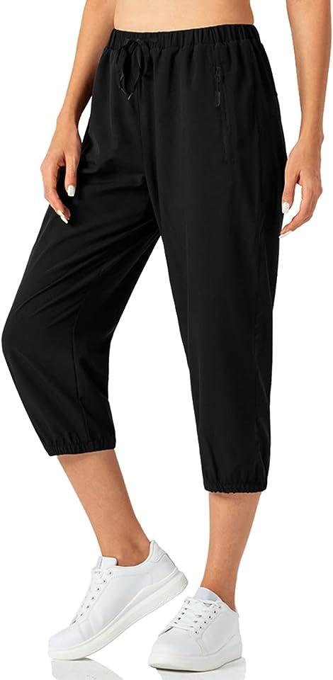 Damen Jogginghose 3/4 Sporthose Traininghose Schnelltrocknend Slim Fit Sweathose mit Tunnelzug