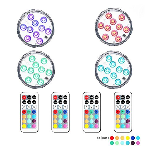 10 LED Remote Controlled RGB Submersible LED Lights AAA Battery Operated Multi Color Waterproof Decorative Lights for Lighting Up Vase, Bowl, Fish Tank, Wedding, Halloween, Party Lights (4pcs LED)