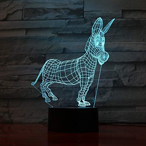 Animal Donkey Modeling Baby Mood Button Night Light 3D LED Lámpara de mesa niños regalo de cumpleaños decoración de la habitación junto a la cama