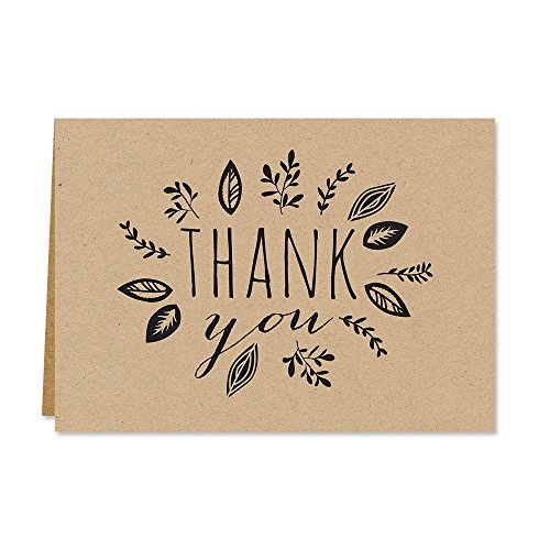 Kraft Leaves Thank You Note Card Pack/Set Of 36 Leaf Wreath Greeting Cards With Blank Inside And Kraft Envelopes