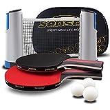 Senston - Set di pipistrelli da ping pong e palline con rete, 2 giocatori, per attività familiare, scuola e club sportivo