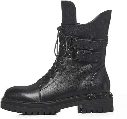 YAN Botines para mujer Invierno Cuero Martin botas Botines Retro británicos botas de Motocicleta High-Top zapatos Casuales