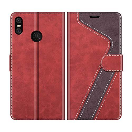 MOBESV Handyhülle für Motorola One Hülle Leder, Motorola One Klapphülle Handytasche Hülle für Motorola One Handy Hüllen, Modisch Rot