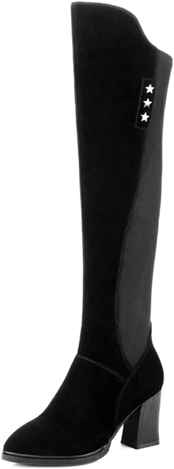 Nine Seven Suede Leather Women's Round Toe Chunky Heel Trendy Handmade Comfort Over The Knee Boots