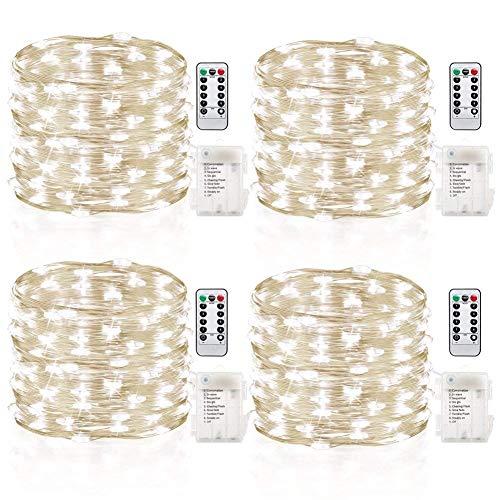 GDEALER 4er 5M 50 LED Lichterkette Batterie mit Fernbedienung und Timer, IP65 Wasserdicht 8 Modi Außen & Innenbeleuchtung für Party, Garten, Weihnachten, Hochzeit, weihnachts deko (Kaltweiß