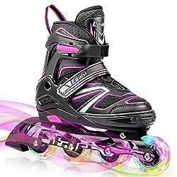 Inline-Skates Kinder/Erwachsen, Verstellbare Inliner mit 8 Blinkende LED-Rädern Anfänger Rollschuhe Kinder Ideal für Frauen Mädchen Jungen Männer Größe 31-42