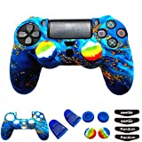 Silicone Skin Cover for Ps4 Controller (1pc Anti-Slip Case, 1 Pair L2 R2 Trigger Extender, 4pcs Thumb Grips,4pcs LED...