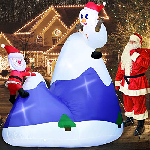 TURNMEON 8 Ft by 8 Ft Giant Christmas Inflatables Santa Snowman Mountaineer Christmas Decorations Outdoor Inflatable with LED Light Stakes Tethers Christmas Decoration Blow Up Holiday Yard Decoration
