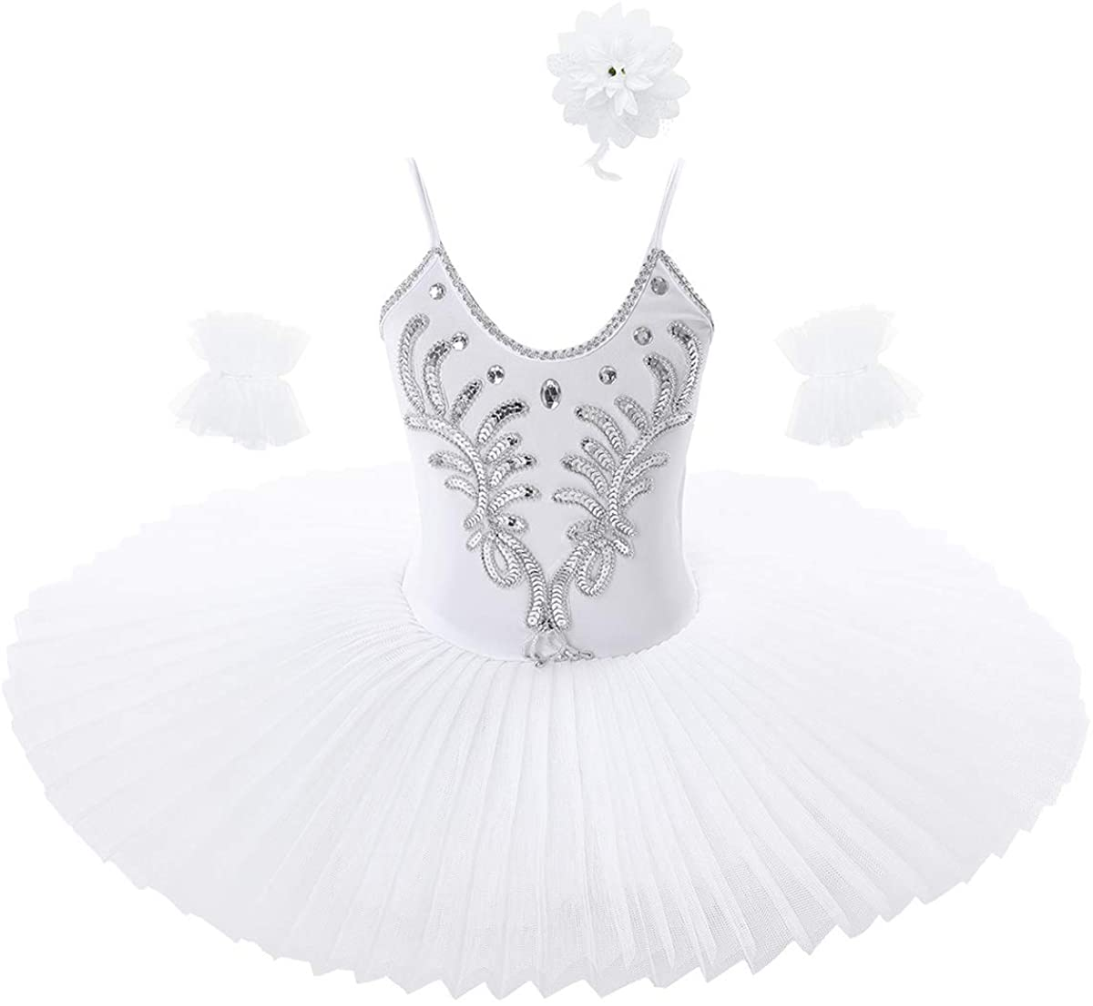 Agoky Kids Girls 日時指定 Sequined Ballet Dance Leotard Tutu 年間定番 C Dress Swan