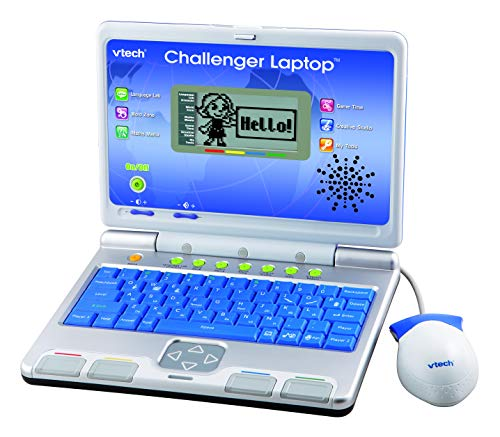 VTech Challenger Laptop, Blue, Kids Laptop with Vocabulary, Maths & French Learning Games, 2 Player Kids Computer, Educational Toy Computer for Kids, Fun Laptop, Boys and Girls Ages 4 Years +