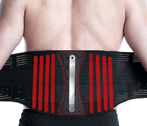 AmazeFan Rückenbandage mit Stützstreben und Verstellbare Zuggurte und atmungsaktiver Nylonstoff, entlastet die Rückenmuskulatur und zur Haltungskorrektur (XL)