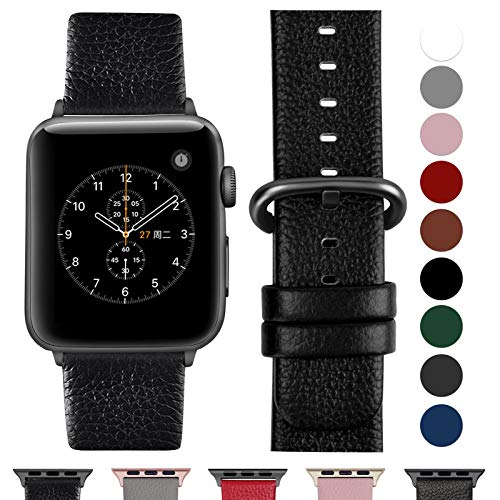 Fullmosa Cinturino per Apple Watch 38 mm/40 mm, Cinturino Pelle Compatibile con Apple Watch Serie 5, Serie 4, Serie 3, Serie 2, Serie 1, Sport, Nike+, Hermès, Edition, Nero + Fibbia di Bronzo
