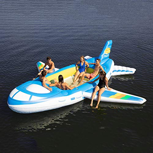 M Mark Inflatable Tropical Tahiti Floating Island 7-People Built-in Inflatable Bench seat and Cooler Cup Holders - Airplane