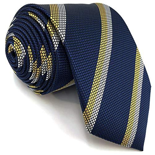 S&W SHLAX&WING Corbata para hombre Corbatas azul marino con corbata de tamaño clásico de rayas blancas amarillas