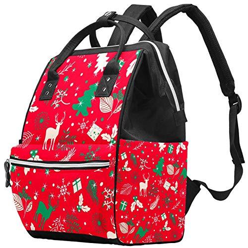 Merry Christmas Tree Leaf and Deer Sac à langer pour bébé Rouge Multifonction Imperméable Sac à dos de voyage Sac à dos pour soins de bébé Grande capacité, élégant et durable