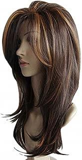 Tsnomore Long Layered Shoulder Length Synthetic Hair Fiber Highlight Multicolor for Women (Mixed color 3)