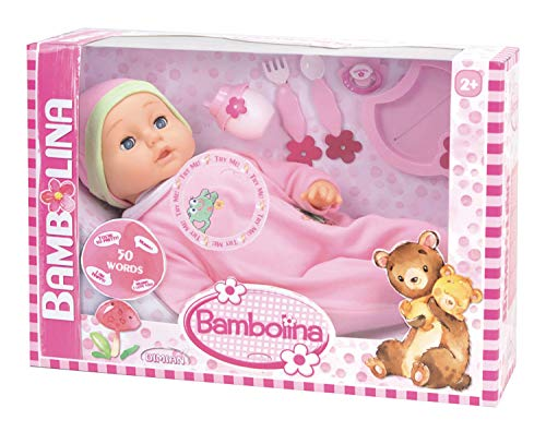Dimian BD359D Puppe Bambolina, spricht 50 Wörter, inklusive 5 Accessoires, ca. 46 cm, rosa