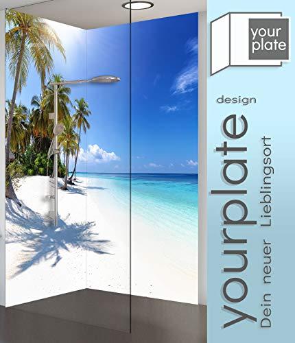 Duschrückwand Alu mit Motiv: Insel Palmen Meer Strand Karibik Blau – Aluverbund-Platte | yourplate (1 Rückwand, je 120 x 200)