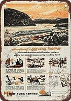 アルミメタルノベルティ危険サインイン、1950年ニューヨークセントラル水位ルート、ヴィンテージマンケーブガレージサインバーサインメタルウォールティンサインウォールアートシンボルポインターデカールメタルサイン