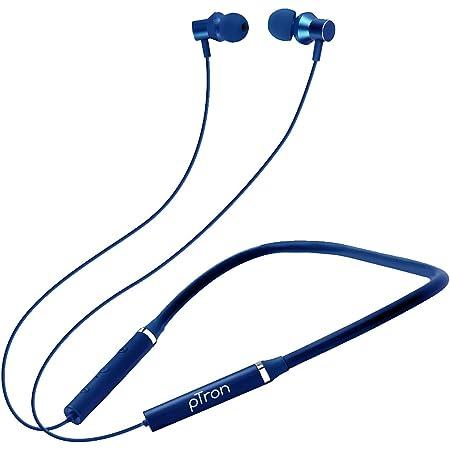 pTron Tangentbeat Bluetooth 5.0 Wireless Headphones with Deep Bass, Ergonomic Design, IPX4 Sweat/Waterproof Neckband, Magnetic Earbuds, Voice Assistant, Passive Noise Cancelation & Mic - (Dark Blue)