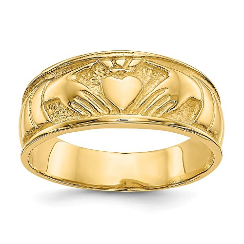 14k Yellow Gold Ladies Irish Claddagh Celtic Knot Wedding Ring Band Size 6.00 Fine Jewelry For Women Gifts For Her