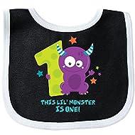 Inktastic Monster 1st Birthday Baby Bib Black/White