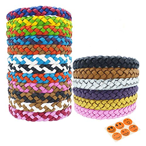ZCOINS Mosquito Repellent Bracelet 18 PACK– DEET Free Anti Insect Bands Waterproof Outdoor Bug Repeller Wristbands Safe For Children- Leather Adjustable