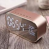 Tofree Miroir Réveil lampe de réveil écran LED Réveil électronique Cadeau de chambre à coucher de chevet Average rose gold