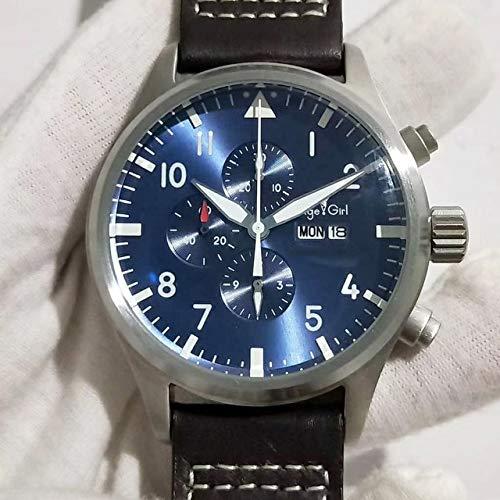 HHBB Marca de lujo hombres automático mecánico piloto cronógrafo zafiro doble marrón cuero azul relojes Aaa+ marrón cuero