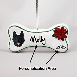 Schipperke Personalizable Dog Bone Christmas Ornament - Hand Painted - Delightful