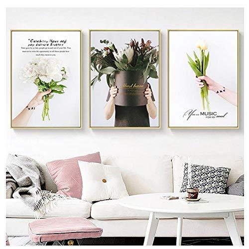Nordic Bloem Canvas Schilderij Home Decor Poster Bekend Zeggen Boeket Beeldkunst Print Woonkamer Decor Poster Schilderen- 50x70cm Geen Frame