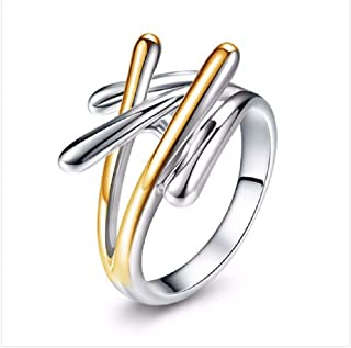 Aimys Ladies Interlaced Ring Personality Finger Style New Creative Rings Two-Color Ring(8#)