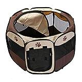 Decdeal Faltbarer Laufstall für Haustiere, tragbar, wasserdicht, aus Oxford-Mesh, für Camping,...