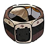 Decdeal Recinto Plegable para Mascotas Corralito Portátil Impermeable Malla de Aire Oxford Tienda de Campaña Casa de Juegos para Perros Gatos Pequeños 72x72x43cm