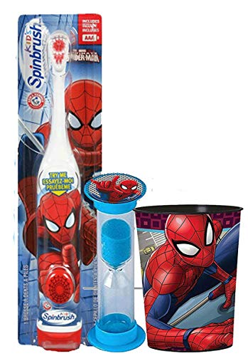 Marvel Avengers 3pc Bright Smile Oral Hygiene Bundle. Turbo Powered Toothbrush, Brushing Timer & Mouthwash Rinse Cup. Plus Dental Gift Bag & Tooth Saver Necklace (3 Piece, Spiderman)