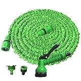 Rengzun Flexibler Einziehbarer Gartenschlauch Gartenschlauch 7.5m-45m Ausgedehnt Wasserrohr mit 7 Sprühmuster alle Verschraubungen aus Hochwertigem Messing
