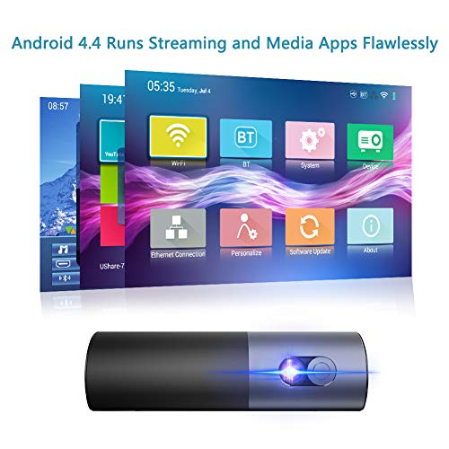 Portable Projector WOWOTO P5 Mini Projector, 400 ANSI Lumen Smart DLP 3D Projector, Support HD 1080p, 200'' Picture, Built-in Battery, 4 Hours Playtime, Android OS Support Bluetooth, Wi-Fi Connection