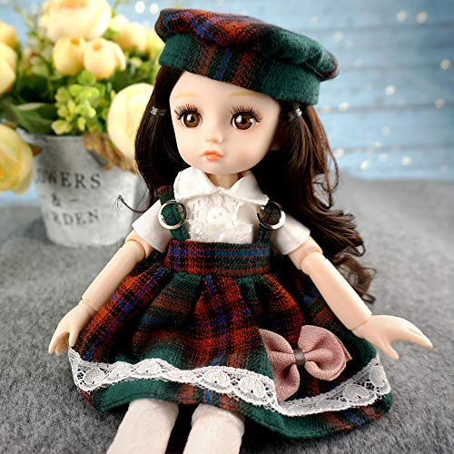 10 inch BJD Dolls with Long Curly Black Hair, a Dress with a Hat and Shoes, Joints can Move and Make All Kinds of Movements. (Flora)